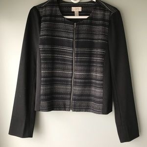 Navy and Black Striped LOFT Zippered Jacket